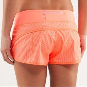Lululemon // Run Speed Shorts Stripe Pop Orange 8